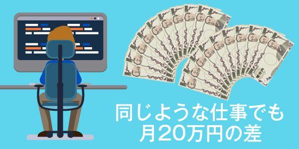 同じような仕事でも20万円の差